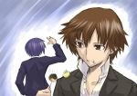blue_hair brown_eyes brown_hair crossover eating food kanzato_shin male male_only persona persona_3 persona_trinity_soul school_uniform segami_daisuke short_hair