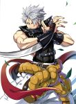 1boy arm_blade bare_shoulders belt blade buckle chipp_zanuff covered_navel earrings fuji_kei guilty_gear_2020 guilty_gear_strive hair_over_one_eye hand_gesture jewelry leaf male_focus muscle red_eyes silver_hair simple_background solo weapon white_background