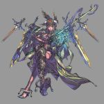 1girl blue_eyes character_request crossed_legs floating_swords glowing grey_background hat high_heels highres holding holding_sword holding_weapon invisible_chair kazama_raita magical_girl navel parted_lips simple_background sitting solo sword valkyrie_profile_anatomia weapon