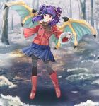 1girl alternate_costume blue_skirt boots brown_scarf coat commission dragon_wings fire_emblem fire_emblem:_the_sacred_stones full_body fur_trim gloves highres long_hair long_sleeves multi-tied_hair myrrh_(fire_emblem) open_mouth pantyhose purple_hair red_eyes scarf skirt snowing solo tree twintails user_zjjd3573 white_gloves wings