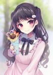 1girl bangs black_hair blurry blurry_background blush crepe earrings eyebrows_visible_through_hair food hair_ornament hairclip highres holding holding_food jewelry long_hair looking_at_viewer momoirone original pocky red_eyes smile solo two_side_up
