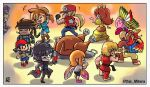 3girls 6+boys adult amamiya_ren animal animal_ears ape_(company) assist_trophy atlus bag bandana banjo-kazooie banjo_(banjo-kazooie) banjo_to_kazooie_no_daibouken bear bird black_hair blonde_hair blue_eyes blush camelot_(company) capcom chibi child closed_eyes coat copy_ability crown dancing doll dougi dress earthbound earthbound_(series) elf facial_hair fatal_fury feathers fire geno_(mario) gloves golden_sun hal_laboratory_inc. hat highres hoshi_no_kirby hoshi_no_kirby_super_deluxe human hylian inkling issac_(golden_sun) kazooie_(banjo-kazooie) ken_masters kirby kirby_(series) kirby_super_star konami link long_hair mammal mario_(series) mario_tennis mask megami_tensei metal_gear_(series) metal_gear_solid microsoft microsoft_studios mother_(game) mother_2 multiple_boys mustache ness nintendo nintendo_ead persona persona_5 ponytail princess_daisy rareware robin_(golden_sun) sega shin_megami_tensei short_hair shorts snk solid_snake sora_(company) splatoon_(series) splatoon_1 square_enix squid_girl stoic_miiverse stoic_seraphim street_fighter super_mario_land super_smash_bros. super_smash_bros._ultimate super_smash_bros_64 super_smash_bros_brawl super_smash_bros_crusade teenage terry_bogard thanksgiving the_king_of_fighters the_legend_of_zelda the_legend_of_zelda:_breath_of_the_wild waluigi young_adult zelda_no_densetsu
