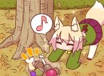 1girl ^_^ acorn all_fours animal_ear_fluff animal_ears autumn_leaves bangs bell blonde_hair blush bone closed_eyes commentary_request day eighth_note eyebrows_visible_through_hair fish fox_ears fox_girl fox_tail green_shirt hair_bun hair_ornament jingle_bell kemomimi-chan_(naga_u) long_hair long_sleeves musical_note naga_u original outdoors pleated_skirt purple_skirt ribbon-trimmed_legwear ribbon_trim shirt sidelocks skirt sleeves_past_wrists solo sparkle spoken_musical_note tail thigh-highs tree white_legwear