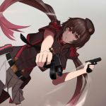 1girl bangs beret black_hair black_headwear casing_ejection cero_(last2stage) dual_wielding eyebrows_visible_through_hair finger_on_trigger girls_frontline glock_17 glock_17_(girls_frontline) gradient_hair gun handgun hat holding holding_gun holding_weapon long_hair looking_at_viewer low_twintails miniskirt multicolored_hair pink_eyes pink_hair pistol pleated_skirt shell_casing skirt smoke smoking_gun solo twintails two-tone_hair weapon white_skirt