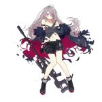 1girl bangs bare_shoulders black_footwear black_gloves black_shorts blush boots breasts coat cross-laced_footwear earphones feather-trimmed_coat floating_hair full_body girls_frontline gloves goggles goggles_around_neck grey_coat grey_hair grey_tank_top gun lace-up_boots logo long_hair long_legs looking_away medium_breasts multicolored_hair multiple_straps navel off_shoulder official_art open_clothes open_coat purple_hair rifle scope shorts sidelocks single_glove sniper_rifle sola7764 solo stomach streaked_hair t-cms_(girls_frontline) tank_top tinted_eyewear torn_clothes transparent_background truvelo_cms very_long_hair violet_eyes weapon wristband
