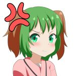 1girl :t anger_vein animal_ears blush cato_(monocatienus) commentary_request furrowed_eyebrows green_eyes green_hair kasodani_kyouko looking_at_viewer pink_shirt pout pouty_lips shirt shirt_under_shirt short_hair simple_background solo touhou upper_body white_background