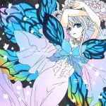 1girl arms_up artist_name bangs blue_eyes blue_wings braid butterfly_wings dress fairy final_fantasy final_fantasy_xiv flower gradient gradient_background hair_between_eyes hair_flower hair_ornament jewelry lili_mdoki long_hair necklace parted_lips pink_flower pointy_ears silver_hair single_braid solo tiara titania_(final_fantasy) white_dress wings