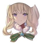 1girl bangs betabeet blonde_hair cagliostro_(granblue_fantasy) closed_mouth commentary eyebrows_visible_through_hair fur_collar granblue_fantasy green_ribbon highres long_hair looking_at_viewer portrait ribbon sidelocks simple_background smile solo star violet_eyes white_background