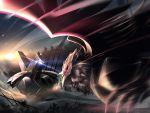 corviknight duraludon dust fighting flying gen_8_pokemon glowing glowing_eyes night night_sky no_humans pokemon pokemon_(game) pokemon_swsh rubble ruins signature sky usuki_(graygreed)