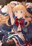 1girl armpits bangs bed belt black_gloves black_legwear blonde_hair blue_cape blue_eyes blue_skirt blush bound bound_wrists bow bowtie bracelet cagliostro_(granblue_fantasy) cape clenched_teeth gloves granblue_fantasy hairband hinami_(hinatamizu) jewelry long_hair long_sleeves lying partly_fingerless_gloves pillow red_neckwear ribbon shirt skirt solo spiked_hairband spikes sweat teeth thigh-highs tiara vial white_shirt