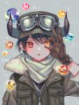 1girl androgynous bangs belt black_hair breast_pocket brown_gloves fur_trim gloves goggles goggles_on_headwear grey_background hat highres horned_headwear looking_at_viewer marble one_eye_covered original parted_lips pocket red_eyes scarf short_hair sleeves_folded_up solo surprised upper_body white_scarf zipper zoff_(daria)