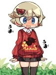1boy blonde_hair blue_eyes blush collared_shirt cosplay hair_ribbon kanikama lass_(pokemon) lass_(pokemon)_(cosplay) lowres male_focus open_mouth otoko_no_ko pokemon pokemon_(game) pokemon_swsh ribbon shirt skirt solo sweatdrop thigh-highs youngster_(pokemon)