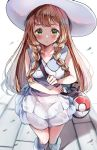1girl bag blonde_hair braid closed_mouth dress duffel_bag green_eyes hat highres lillie_(pokemon) long_hair poke_ball_theme pokemon pokemon_(game) pokemon_sm sak_(lemondisk) sleeveless sleeveless_dress solo sun_hat twin_braids white_dress white_headwear