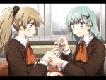2girls any_(lucky_denver_mint) aqua_eyes aqua_hair aqua_nails ascot blue_eyes brown_hair brown_jacket commentary_request hair_ornament hairclip jacket kantai_collection kumano_(kantai_collection) long_hair multiple_girls nail_polish ponytail profile school_uniform suzuya_(kantai_collection) upper_body window