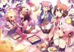 5girls :d :o ahoge animal_ear_fluff animal_ears ariake_(azur_lane) ascot azur_lane bare_shoulders bell bird black_legwear black_skirt blonde_hair bow breasts brown_eyes brown_hair brown_shirt brown_skirt cat_ears cat_girl cat_tail cherry_blossoms chick choker chopsticks closed_eyes collarbone commentary_request dango day detached_sleeves fang feeding flower food fox_tail hair_bow hair_ornament hairclip halterneck haori hatsuharu_(azur_lane) hatsushimo_(azur_lane) holding holding_chopsticks holding_food holding_plate japanese_clothes jingle_bell kotori_photobomb long_hair long_sleeves looking_at_viewer manjuu_(azur_lane) mat medium_breasts medium_hair miniskirt multicolored_hair multiple_girls multiple_tails no_shoes obentou off-shoulder_shirt off_shoulder official_art one_eye_closed open_mouth outdoors petals picnic picnic_basket pink_hair plate pleated_skirt red_eyes revision rope sailor_collar sandwich sanshoku_dango seiza shirako_sei shirt sitting skirt smile streaked_hair sunlight tail thigh-highs two_side_up violet_eyes w wagashi wakaba_(azur_lane) white_flower white_legwear white_shirt wide_sleeves yuugure_(azur_lane) zettai_ryouiki