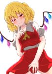 1girl ascot bangs blonde_hair blush breasts commentary_request cowboy_shot crystal eyebrows_visible_through_hair fang fang_out flandre_scarlet frilled_shirt_collar frills hair_between_eyes hand_up highres index_finger_raised looking_at_viewer mukkushi no_hat no_headwear one_side_up puffy_short_sleeves puffy_sleeves red_eyes red_skirt red_vest shirt short_hair short_sleeves simple_background skirt skirt_set small_breasts smile solo touhou vest white_background white_shirt wings yellow_neckwear