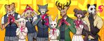 3girls 5boys beastars belt between_fingers bill_(beastars) blazer cherryton_school_uniform cigarette collared_shirt cowboy_shot deer dog dress_shirt furry gouhin hand_gesture haru_(beastars) holding holding_cigarette jack_(beastars) jacket juno_(beastars) legosi lineup looking_at_viewer louis_(beastars) msdk_max multiple_boys multiple_girls neckerchief necktie orange_background panda pants pleated_skirt puffy_short_sleeves puffy_sleeves rabbit scar scar_across_eye school_uniform sebun_(beastars) sheep shirt short_sleeves skirt smile smoking standing standing_on_one_leg suspenders tiger twitter_username vest white_shirt wolf yellow_shirt