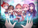 1boy 4girls :d :o artist_name bangs black_legwear blue_eyes blue_pants blue_skirt blush bow brown_eyes brown_hair brown_jacket chibi commentary commission d: doki_doki_literature_club english_commentary eyebrows_visible_through_hair eyes_visible_through_hair fang frown glitch green_eyes hair_bow hair_ornament hair_ribbon hairclip highres jacket keyboard_(computer) logo long_hair looking_at_viewer monika_(doki_doki_literature_club) monitor multiple_girls natsuki_(doki_doki_literature_club) necktie open_mouth pants pink_eyes pink_hair pleated_skirt ponytail potetos7 pov pov_hands protagonist_(doki_doki_literature_club) purple_hair red_bow red_neckwear ribbon sayori_(doki_doki_literature_club) school_uniform short_hair skin_fang skirt sleeve_tug smile team_salvato thigh-highs through_screen two_side_up very_long_hair violet_eyes white_ribbon yuri_(doki_doki_literature_club)