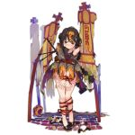 1girl alternate_costume bandaid bandaid_on_face bangs bead_anklet bead_bracelet beads black_dress black_footwear black_hair bound bound_legs bound_wrists bracelet brown_eyes clenched_teeth damaged dress fangs full_body girls_frontline gun hair_ribbon hairband halloween_costume hat jewelry jiangshi long_hair looking_at_viewer looking_away official_art ofuda orange_dress orange_hairband qbu-88 qbu-88_(girls_frontline) red_nails ribbon sash shoes shuzi sidelocks solo stuffed_animal stuffed_panda stuffed_toy talisman teeth torn_clothes transparent_background two-tone_dress weapon
