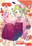 1girl :d blush bow braid brown_footwear card eyebrows_visible_through_hair floral_print flower frilled_sleeves frills full_body green_eyes green_hair hair_flower hair_ornament hakama holding holding_card japanese_clothes kimono long_sleeves looking_at_viewer meito_(maze) morinaka_kazaki nijisanji open_mouth outstretched_arm pink_flower pink_kimono print_kimono red_bow red_hakama sidelocks smile socks solo virtual_youtuber white_legwear wide_sleeves zouri