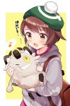 1girl :d backpack bag blush brown_eyes brown_hair collared_dress commentary_request dress eighth_note flying_sweatdrops galarian_form galarian_meowth gen_8_pokemon green_headwear grey_cardigan highres holding holding_pokemon hood hood_down hooded_cardigan kanda_done looking_at_another looking_down musical_note one_eye_closed open_mouth pink_dress pokemon pokemon_(creature) pokemon_(game) pokemon_swsh sharp_teeth smile spoken_musical_note sweat tam_o'_shanter teeth translation_request two-tone_background upper_body white_background yellow_background yellow_eyes yuuri_(pokemon)