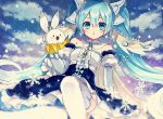 1girl blue_dress blue_eyes blue_hair clouds detached_sleeves dress hair_between_eyes hatsune_miku highres long_hair looking_at_viewer musical_note open_mouth outdoors rabbit rabbit_yukine sitting sky snowflakes snowing striped thigh-highs twintails vertical_stripes very_long_hair vocaloid white_legwear yoritori yuki_miku yuki_miku_(2019)