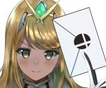 1girl bangs blonde_hair blush commentary_request earrings fingerless_gloves gem gloves glowing hairband hikari_(xenoblade_2) holding_envelope jewelry long_hair looking_at_viewer monolith_soft monster_games mythra_(xenoblade_2) nayutayutautau nintendo nose_blush simple_background smash_ball solo sora_(company) super_smash_bros. swept_bangs upper_body white_background white_gloves xenoblade_(series) xenoblade_2 xenoblade_chronicles_2 yellow_eyes