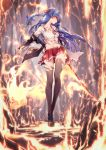 1girl 909089089 bangs black_jacket blue_hair blush breasts brown_footwear burnt_clothes collarbone collared_shirt fire flaming_sword floating_hair hair_ornament hair_ribbon hairclip highres holding holding_sword holding_weapon jacket loafers long_hair long_legs looking_at_viewer medium_breasts midriff miniskirt navel off_shoulder original pleated_skirt red_eyes red_neckwear red_ribbon red_skirt ribbon shirt shoes sidelocks skirt smile solo standing sword thigh-highs torn_clothes weapon white_shirt wind