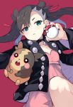 1girl black_hair black_jacket blue_eyes choker dress gen_8_pokemon jacket lying mary_(pokemon) morpeko nanateru on_back pink_dress poke_ball poke_ball_(generic) pokemon pokemon_(game) pokemon_swsh red_background twintails