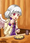 1girl :o arms_up blush bow bowtie braid brooch chair commentary_request cup dress eyebrows_visible_through_hair feathered_wings food french_braid head_tilt highres holding holding_food jacket jewelry kishin_sagume long_sleeves looking_down mochi open_clothes open_hand open_jacket plate purple_dress red_eyes red_neckwear restaurant short_hair silver_hair single_wing sitting solo sugiyama_ichirou table touhou warabi wings wooden_chair wooden_table wooden_wall yellow_jacket yunomi