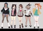 5girls :o alternate_costume aqua_eyes armlet asymmetrical_bangs backpack bag bangs belly_chain beret between_breasts black_choker black_footwear black_hair black_jacket black_ribbon black_skirt blue_cardigan blue_eyes blue_hair blue_skirt blush boots breasts brown_eyes brown_footwear brown_hair brown_jacket brown_legwear brown_skirt cardigan choker collarbone collared_shirt dark_skin drawstring earrings eyebrows_visible_through_hair eyewear_on_head food_in_mouth full_body glasses green_headwear grey_background grey_cardigan grey_eyes gym_leader hair_between_eyes hair_bun hair_ornament hair_ribbon hand_up hat heart heart_hair_ornament highres holding holding_bag holding_strap hood hood_down hooded_cardigan hooded_jacket hoop_earrings jacket jewelry letterboxed long_hair long_sleeves looking_at_viewer mary_(pokemon) mashiro_(rikuya) medium_breasts miniskirt mouth_hold multicolored_hair multiple_girls necklace open_clothes open_jacket open_mouth orange_hair paper_bag parted_lips pink_hair pleated_skirt pokemon pokemon_(game) pokemon_swsh red_cardigan red_ribbon ribbon round_teeth rurina_(pokemon) saitou_(pokemon) school_uniform shirt short_sleeves shoulder_bag side_ponytail simple_background skirt smile socks sonia_(pokemon) standing strap_between_breasts sweater_vest teeth twintails two-tone_hair waving white_footwear white_legwear white_shirt white_skirt yuuri_(pokemon) zipper zipper_pull_tab