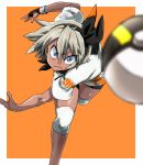1girl aono3 black_bodysuit black_hairband blue_eyes blurry blurry_foreground bodysuit bodysuit_under_clothes closed_mouth commentary dark_skin depth_of_field eyebrows_visible_through_hair fingerless_gloves frown gloves grey_hair gym_leader hair_between_eyes hairband knee_pads leaning_forward leg_up looking_at_viewer orange_background outside_border poke_ball pokemon pokemon_(game) pokemon_swsh print_shirt print_shorts saitou_(pokemon) shirt short_hair short_sleeves shorts single_glove solo standing standing_on_one_leg throwing ultra_ball v-shaped_eyebrows