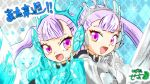 2girls :d acier_silva armor back-to-back black_clover commentary_request looking_at_viewer mother_and_daughter multiple_girls noelle_silva open_mouth setta_kobayasi silver_hair smile translated twintails violet_eyes water
