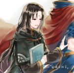 2boys :d bangs black_capelet black_hair black_robe blue_tunic book cape capelet commentary_request eyebrows_visible_through_hair facial_mark fire_emblem fire_emblem:_path_of_radiance forehead_mark grey_background highres holding holding_book hood hooded_capelet ike_(fire_emblem) jnsghsi long_hair long_sleeves low-tied_long_hair male_focus multiple_boys open_mouth red_cape red_eyes robe short_sleeves smile soren_(fire_emblem) translation_request tunic upper_body wide_sleeves