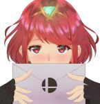 1girl bangs black_gloves blush commentary_request cute earrings fingerless_gloves gem gloves glowing hairband holding_envelope homura_(xenoblade_2) jewelry looking_at_viewer monolith_soft monster_games nayutayutautau nintendo nose_blush pyra_(xenoblade_2) red_eyes redhead short_hair simple_background smash_ball smash_bros._invitation_letter solo sora_(company) super_smash_bros. swept_bangs upper_body white_background xenoblade_(series) xenoblade_2 xenoblade_chronicles_2