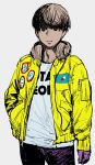 1boy grey_background hand_in_pocket headphones highres jacket looking_at_viewer short_hair simple_background sketch smile solo synecdoche yellow_jacket