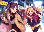 2girls :d :o bag bangs black_bow black_dress black_hair black_legwear black_nails black_scarf black_skirt blonde_hair blush bow breasts brown_coat cellphone coat dress earrings english_commentary ereshkigal_(fate/grand_order) eyebrows_visible_through_hair fate/grand_order fate_(series) hair_bow holding holding_cellphone holding_hands holding_phone ishtar_(fate/grand_order) jewelry leaning_forward leg_up long_hair long_sleeves mall mixed-language_commentary multiple_girls nail_polish open_clothes open_coat open_mouth parted_bangs phone purple_bow purple_capelet red_eyes running scarf shirt shopping_bag skirt small_breasts smile sweat thigh-highs thigh_gap twitch_username two_side_up unmoving_pattern upper_teeth very_long_hair white_shirt yuniiho zettai_ryouiki