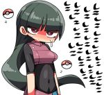 1girl bangs blush breasts closed_mouth covered_navel green_hair gym_leader head_tilt kanikama long_hair looking_at_viewer lowres natsume_(pokemon) nose_blush poke_ball poke_ball_(generic) pokemon pokemon_(game) pokemon_lgpe red_eyes simple_background small_breasts solo sweat translated upper_body very_long_hair white_background