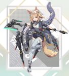 1girl absurdres ahoge animal_ears axe belt black_gloves black_jacket blonde_hair eyebrows_visible_through_hair fang fox_ears fox_tail gloves grey_legwear highres holding holding_axe holding_weapon jacket jewelry lower_teeth mecha necklace nogchasaeg_(karon2848) open_mouth original shoes short_shorts shorts sleeve_rolled_up sneakers solo tail teeth thigh-highs violet_eyes weapon