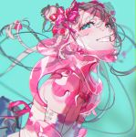 1girl absurdres aqua_eyes bandage_on_face bandages bandaid bandaid_on_nose blurry blush bow braces braid depth_of_field double_bun eyeliner flat_chest grin hair_bow hair_ornament hair_ribbon hairclip haori head_tilt highres japanese_clothes looking_at_viewer makeup neck_brace original other_focus ribbon sarashi see-through sequins shoulder_pads silver_hair simple_background skindentation smile solo upper_body v_arms yoneyama_mai