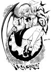 1girl bat_wings black_footwear blackcat_(pixiv) bow dated dress english_text eyebrows_visible_through_hair fangs flower frilled frills greyscale hair_bow kurumi_(touhou) long_hair looking_at_viewer monochrome puffy_sleeves ribbon rose shoes skirt smile socks solo touhou touhou_(pc-98) vest wings