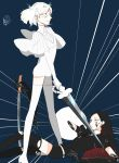 2others androgynous black_hair bort chi_(csrnrnoekk) crystal_hair diamond_(houseki_no_kuni) gem_uniform_(houseki_no_kuni) highres holding holding_sword holding_weapon houseki_no_kuni long_hair looking_at_another moon_uniform_(houseki_no_kuni) multiple_others short_hair smile smug spoilers sword weapon