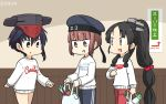 3girls alternate_costume asymmetrical_hair bag black_hair blue_headwear blue_pants brown_eyes clothes_writing commentary_request cowboy_shot dated groceries hair_between_eyes hair_tie hamu_koutarou hat high_ponytail highres i-13_(kantai_collection) indoors kantai_collection logo long_hair long_sleeves multi-tied_hair multiple_girls namesake nisshin_(kantai_collection) nissin pants plastic_bag red_pants red_ribbon ribbon sailor_hat short_eyebrows short_hair spring_onion sweater thick_eyebrows track_pants very_long_hair white_sweater z3_max_schultz_(kantai_collection)