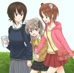 3girls animal_ears animal_print backpack bag bangs bear_ears bear_print black_sweater bow bowtie brown_eyes brown_hair brown_sweater carrying casual cellphone closed_mouth coffee_cup commentary cup disposable_cup dress_shirt eyebrows_visible_through_hair fake_animal_ears frilled_skirt frills girls_und_panzer grey_skirt handbag holding holding_cup holding_hands hood hoodie jewelry layered_skirt light_brown_eyes light_brown_hair long_hair long_sleeves looking_at_another looking_back medium_skirt miniskirt multiple_girls mutsu_(layergreen) necklace nishizumi_maho nishizumi_miho one_side_up open_mouth phone pink_shirt pleated_skirt red_skirt shimada_arisu shirt short_hair siblings sisters skirt smile standing sweater walking white_shirt yellow_neckwear yellow_shirt