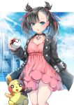 1girl asymmetrical_bangs bangs black_choker black_hair black_jacket black_nails blue_sky breasts building choker commentary_request day dress earrings eyebrows_visible_through_hair gen_8_pokemon green_eyes hair_ribbon highres holding holding_poke_ball jacket jewelry long_sleeves looking_at_viewer mary_(pokemon) morpeko mutang nail_polish open_clothes open_jacket parted_lips pink_dress poke_ball poke_ball_(generic) pokemon pokemon_(creature) pokemon_(game) pokemon_swsh red_ribbon ribbon signature sky sleeves_past_wrists small_breasts sunlight twintails