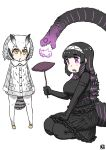 2girls :< arms_at_sides artist_logo bird_tail black_hair blonde_hair closed_mouth coat crossover dress drooling elbow_gloves food frilled_dress frills full_body fur_collar gloves godzilla godzilla_(series) godzilla_(shin) grey_coat grey_hair hair_between_eyes hair_ornament hairband hand_up head_wings height_difference holding kemono_friends kishida_shiki medium_dress medium_hair multicolored_hair multiple_girls northern_white-faced_owl_(kemono_friends) open_mouth orange_eyes owl_ears pantyhose personification purple_hair ringed_eyes seiza shin_godzilla sidelocks simple_background sitting standing streaked_hair sweet_potato tail turtleneck two-tone_hair violet_eyes white_background white_hair yakiimo