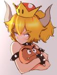 1girl animal bangs black_choker blonde_hair blue_eyes bowsette bracelet choker closed_mouth collar cropped_torso eyebrows frown goomba gradient gradient_background grey_background holding holding_animal horns jewelry looking_back mario_(series) medium_hair mityubi new_super_mario_bros._u_deluxe short_ponytail solo spiked_armlet spiked_bracelet spiked_collar spikes super_crown sweat upper_body