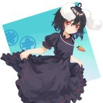 1girl absurdres alternate_color animal_ears berabou black_dress black_hair blush bunny_girl carrot_necklace commentary_request dress highres inaba_tewi rabbit_ears red_eyes ribbon-trimmed_dress short_hair skirt_hold smile solo touhou