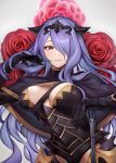 1girl absurdres armor breasts camilla_(fire_emblem) closed_mouth ei1han fire_emblem fire_emblem_fates flower hair_over_one_eye highres large_breasts long_hair purple_hair smile solo tiara upper_body violet_eyes