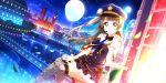 blush brown_eyes brown_hair cap dress long_hair love_live!_school_idol_festival_all_stars minami_kotori moon night police smile